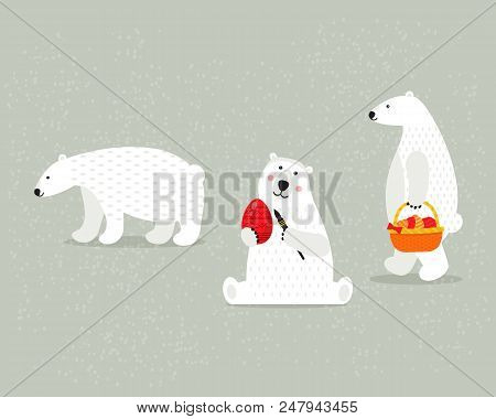 Set Of Beautiful White Polar Bears, With Paints, Basket With Eggs And Gifts, On Happy Easter Holiday