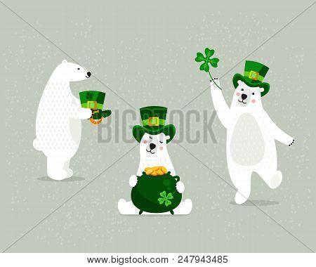 Set Of Beautiful White Polar Bears, On St. Patrick's Day.