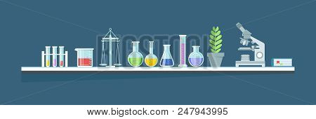Scientific Chemical Laboratory, Conducting Experiments, Research In Laboratory. Glassware, Jars, Fla