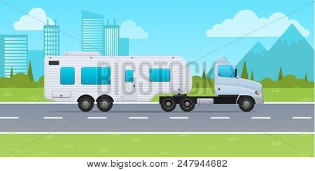 Motor Home, Mobile Home On Wheels, For Travel Around Country, For Trips. Truck With Trailer, Van, Ve