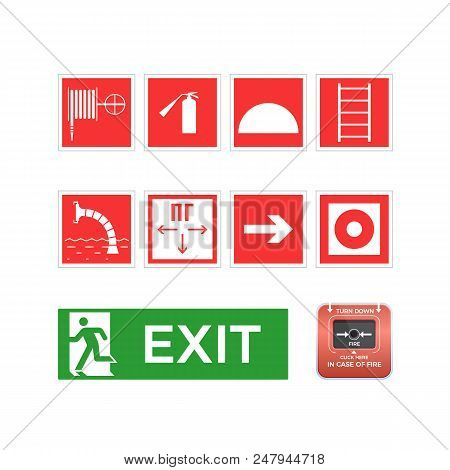 Fire Extinguishing, Smoke Elimination, Fire Fighting Equipment And Signs. Set Of Symbols, Logos, Ico