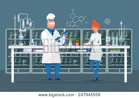 Scientific Employees Of Chemical Laboratory, Male And Female Scientists, Conducting Chemical Experim