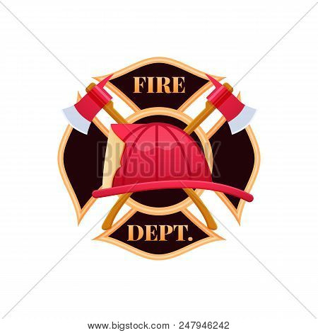 Fire Dept Logo Icon. Plastic Red Fire Helmet With Protective Glass. Helmet Firefighter Service Offic