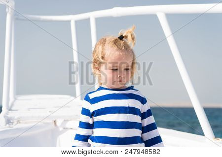 Sea Is His Vocation. Baby Boy Enjoy Vacation Cruise Ship. Child Cute Sailor Yacht Sunny Day. Boy Ado
