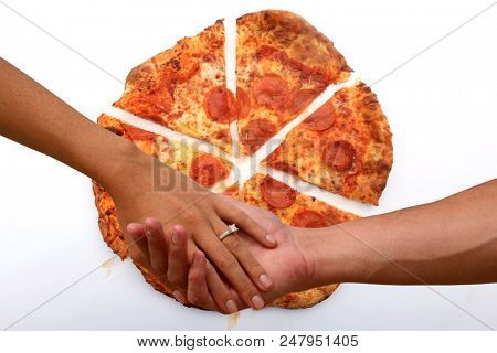 Man and Woman hold hands with pizza background. I love you more than pizza. Romance and love stronger than love for pizza.  poster