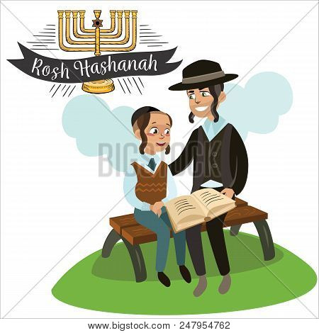 Father And Son Celebrating Passover Reading The Haggadah, Parent With Children Sitting On Bench And