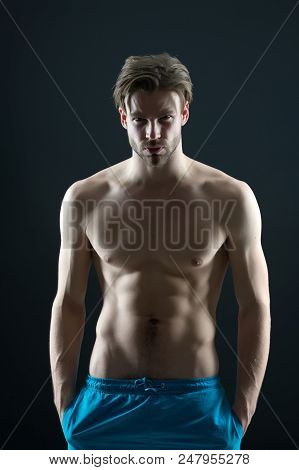 Sport Or Fitness And Bodycare Concept. Man With Six Pack And Ab Muscles. Sportsman With Sexy Torso A