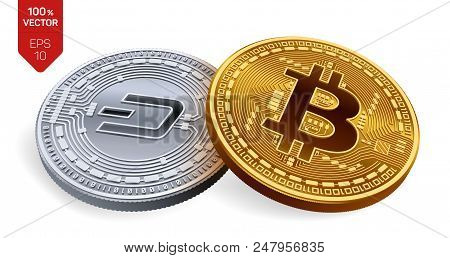 Bitcoin. Dash. 3d Isometric Physical Coins. Digital Currency. Cryptocurrency. Silver Coin With Dash
