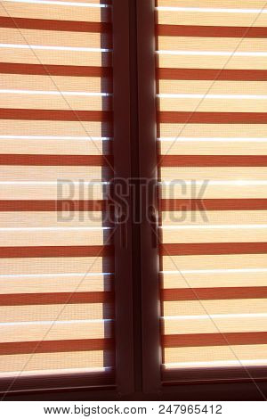 Modern Jalousie Day And Night Horizontal Protect Room From Sunny Rays On Window. Room Design Element