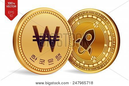 Stellar. Won. 3d Isometric Physical Coins. Digital Currency. Korea Won Coin. Cryptocurrency. Golden