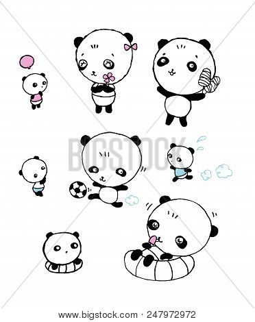 Cute Panda Bear Collection Of Hand Drawn Elements,set Of Funny Little Panda ,cartoon Character Of Cu