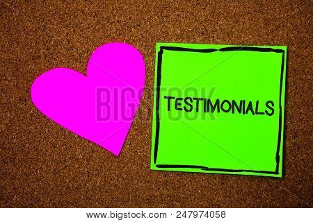 Writing Note Showing Testimonials. Business Photo Showcasing Customers Formal Endorsement Statement