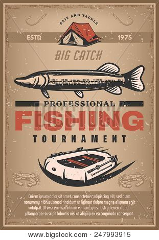Professional Fishing Tournament Sketch Poster. Vector Design Of Big Fish Catch Fisher Sport Event An