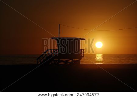 Lifeguard Tower Station At Sunset  In Santa Monica Beach, California