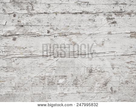 white Grunge background, Peeling paint on an old wooden floor.