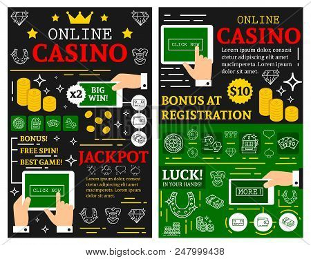 Online Casino Or Poker Cards Gamble Game Posters For Jackpot Gambling. Vector Brochure Thin Line Art