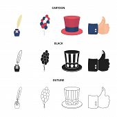 Balloons, inkwell with a pen, Uncle Sam hat. The patriot day set collection icons in cartoon, black, outline style vector symbol stock illustration . poster