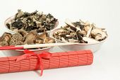 Dried chinese mushrooms in bowl Picture shot in Studio. poster
