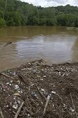 All kinds of human made debris, like plastic bottles, and branches, wood, and mud clog and pollute a river after a flood poster