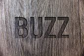 Conceptual hand writing showing Buzz. Business photo showcasing Hum Murmur Drone Fizz Ring Sibilation Whir Alarm Beep Chime Wooden background vintage wood board message ideas feelings poster