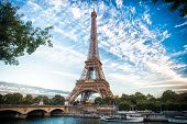 from paris with love. Eiffel Tower at sunset in Paris, France. Romantic travel background. eifell tower is Paris symbol poster