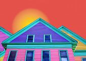 multi colored house with sun poster