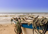 La Boquilla Cartagena, Colombia. March 2018. A view of boats on la boquilla beach near Cartagena Colombia poster