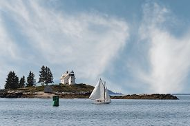 Pumpkin Island Lighthouse And Sailboat - Off Little Deer Isle, Penobscot Bay, Maine