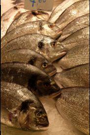 Close-up of fish for sale at the Mercat de Sant Josep de la Boqueria public market in Barcelona (Catalonia, Spain).