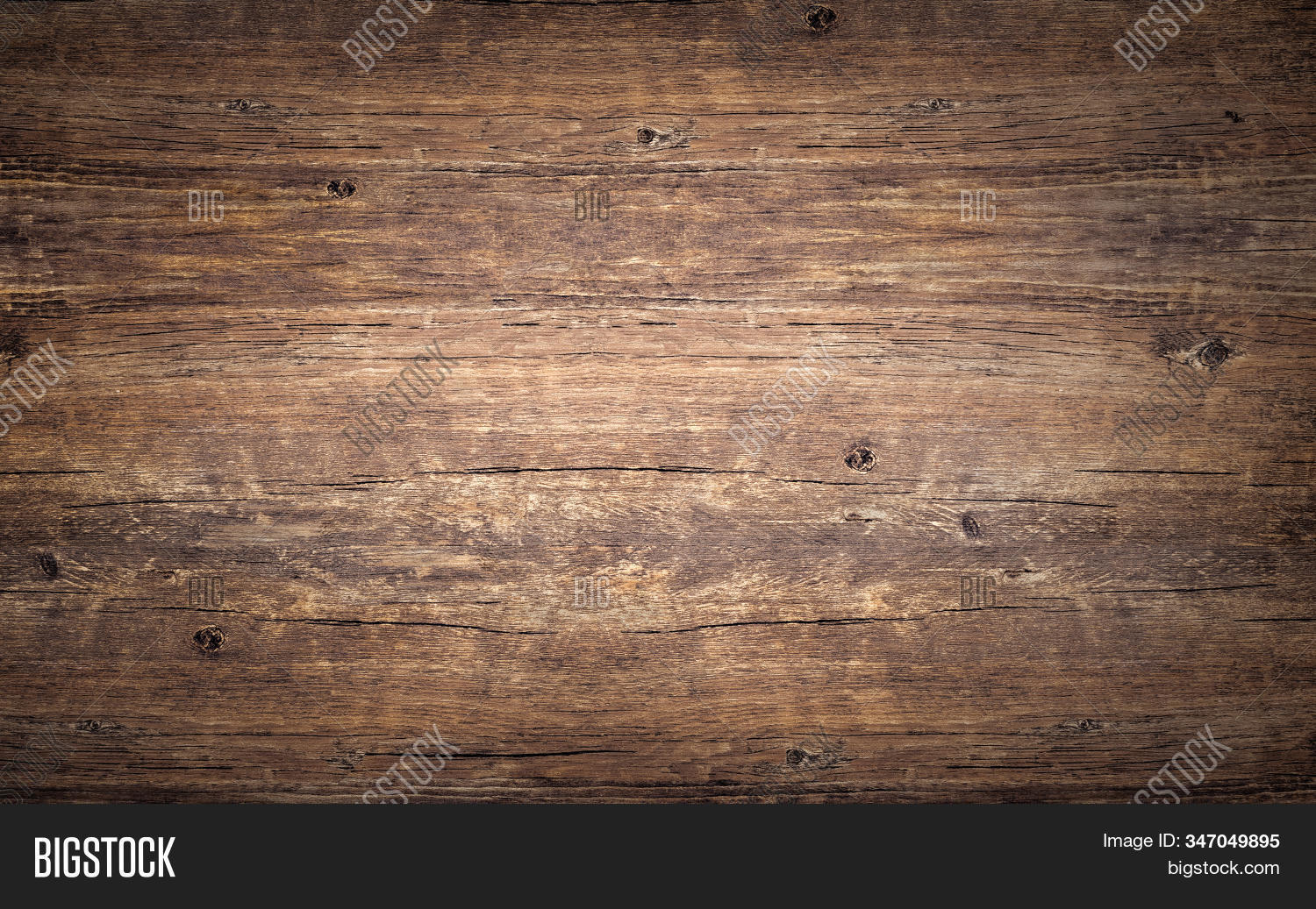 Wood Texture Background. Top View Of Vintage Wooden Table With Cracks. Brown Rustic Rough Timber For