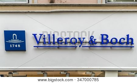 Trier, Germany - September  13, 2019: Shop And The Logo Of The Brand On A House Facade