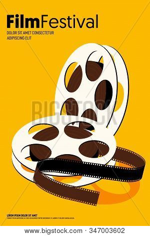 Movie And Film Poster Design Template Background Modern Vintage Retro Style. Design Element For Back
