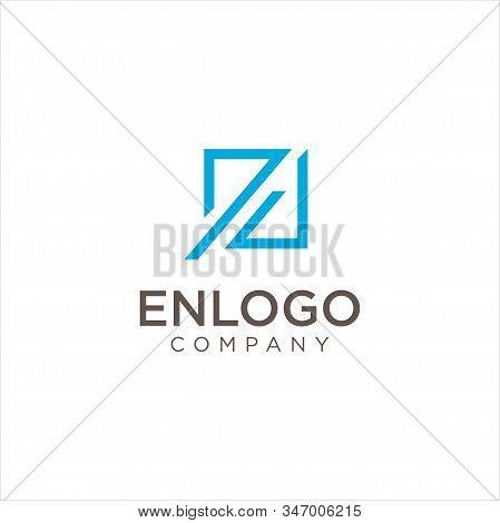 Modern Square Letter E N En Logo Design Vector