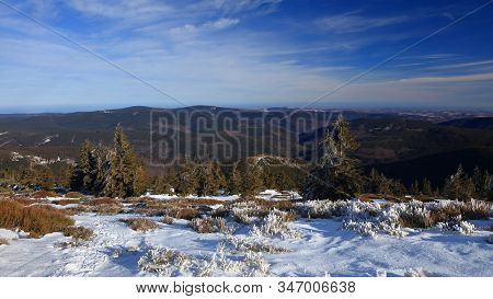 View From Praded On Hilly Snowless Forests And Sokoli Skala On A Sunny Day, Jeseniky, Czech Republic