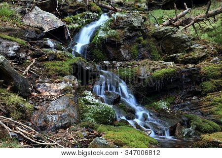 Small Cascade Waterfall In Green Forest With Tree Trunks Fallen All Over. Waterfall On Studeny Potok
