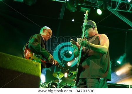 LOULE, PORTUGAL - JUNE 30: Jamaican Legends performs onstage in a world music festival at festival med on June 30, 2012 in Loule, Portugal.