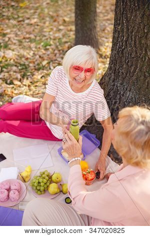 Aged Woman Having Fun With Her Best Friend