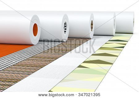 Row Of Paperhanging Wallpaper Paper Rolls With Abstract Print On A White Background. 3d Rendering