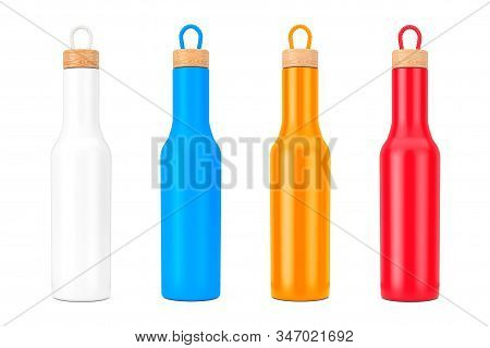 Multicolour Modern Bottle Mockup With Wooden Cap On A White Background. 3d Rendering