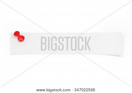 Strip Of Blank Paper With Empty Space For Your Design Pinned By Red Paper Pin On A White Background.