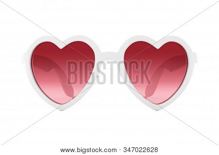 White Beach Sunglasses In Heart Shape With Pink Glasses On A White Background. 3d Rendering