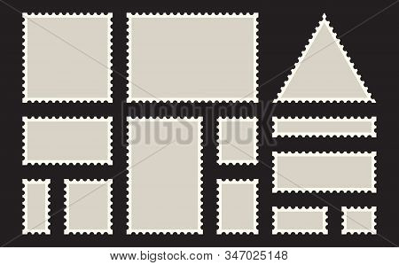 Postage Stamps Frames. Blank Postage Stamps Set On Dark Background. Set Of Templates Of Blank Postag