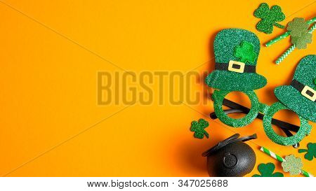 Happy St Patrick's Day Concept. Flat Lay Composition With St Patricks Day Party Glasses, Drinking St