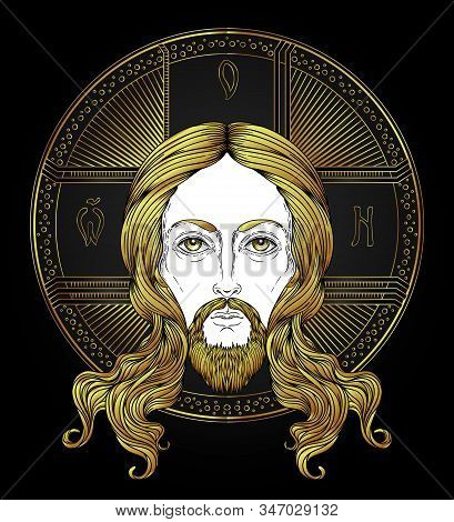 Orthodox Jesus Christ With Halo. Beautiful Religious Art. Bible Character. Isolated Vector Illustrat