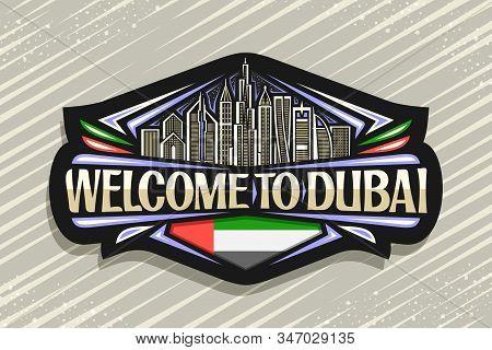 Vector Logo For Dubai, Black Decorative Signage With Draw Illustration Of Modern Dubai Cityscape On