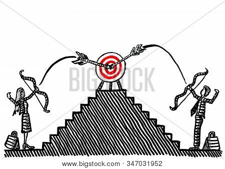 Freehand Drawing Of Bulls Eye Being Hit Simultaneously By An Arrow Each Fired By A Business Woman An