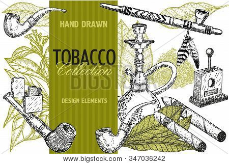 Hand Drawn Posters With Tobacco And Smoking Collection. Hand Drawn Cigars, Hookah, Matches, Tobacco