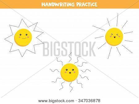 Handwriting Practice For Kids. Preschool Worksheet. Set Of Cute Kawaii Suns. Educational Worksheet F