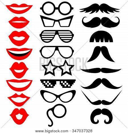 Set Of Photo Booth Props: Mustache, Eyeglasses, Lips. Vector Illustration