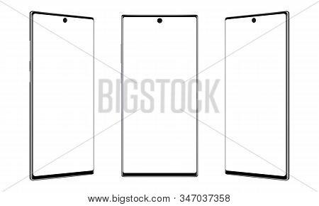 Modern Frameless Smartphones Mockups Isolated On White Background. Vector Illustration